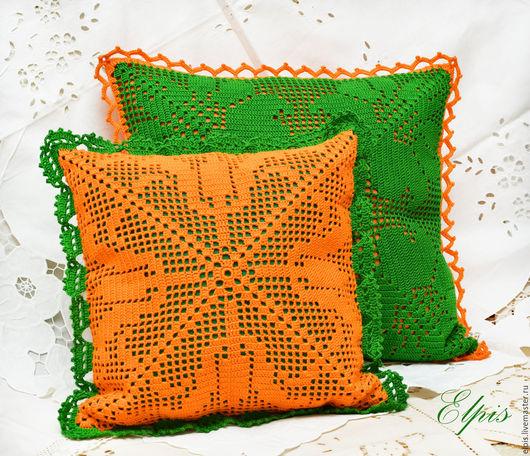 """Текстиль, ковры ручной работы. Ярмарка Мастеров - ручная работа. Купить Декоративные подушки """"Дачные"""". Handmade. Зеленый, подушка диванная"""