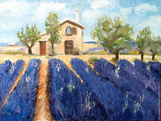 Пейзаж ручной работы. Ярмарка Мастеров - ручная работа. Купить Лавандовые поля. Handmade. Сиреневый, лавандовый, картина в подарок