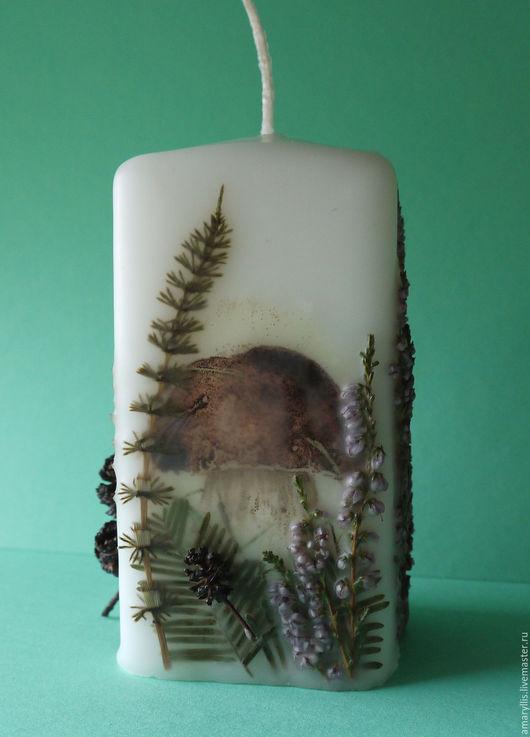 """Свечи ручной работы. Ярмарка Мастеров - ручная работа. Купить Свеча """"У леса на опушке"""". Handmade. Комбинированный, свеча с сухоцветами"""
