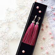 Украшения handmade. Livemaster - original item Pink-purple earrings brush Royal whim. Handmade.