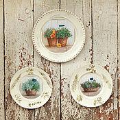 """Посуда ручной работы. Ярмарка Мастеров - ручная работа Настенные тарелки """"Ароматные травы"""".. Handmade."""
