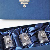 """Сувениры и подарки handmade. Livemaster - original item Набор стопок на троих """"БАРОККО """" в футляре (стопки с вензелем). Handmade."""