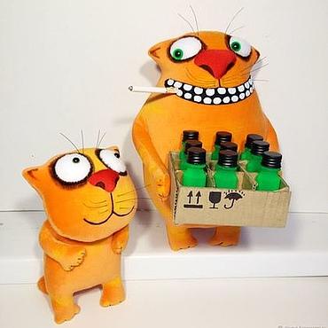 Куклы и игрушки ручной работы. Ярмарка Мастеров - ручная работа Мягкая игрушка рыжий кот и котенок, плюшевые игрушки коты. Handmade.