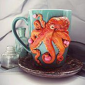 Кружки ручной работы. Ярмарка Мастеров - ручная работа Кружка с декором из полимерной глины осьминог. Handmade.