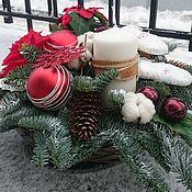 Подарки к праздникам ручной работы. Ярмарка Мастеров - ручная работа Новогодняя композиция со свечой. Handmade.