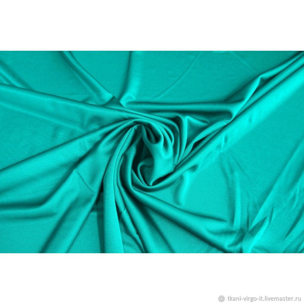 Шикарный шелковистый двусторонний трикотаж цвет ярко-бирюзовый, Ткани, Москва,  Фото №1