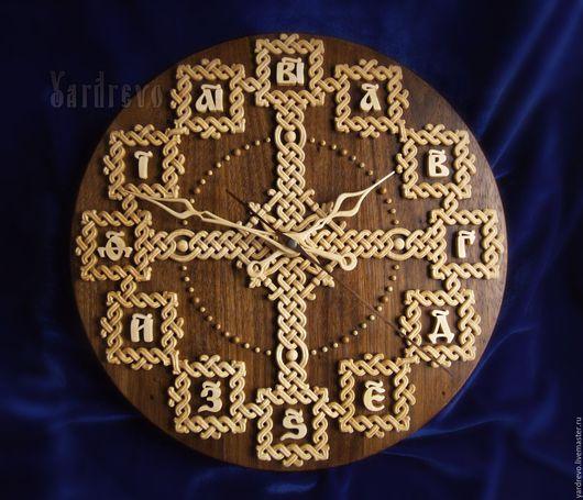 Часы для дома ручной работы. Ярмарка Мастеров - ручная работа. Купить Часы резные славянские с цифирями. Handmade. Часы, орнамент