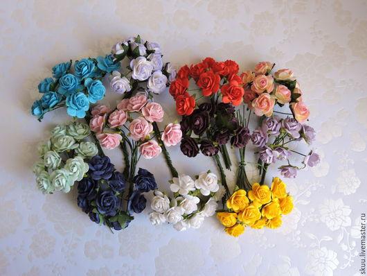 Открытки и скрапбукинг ручной работы. Ярмарка Мастеров - ручная работа. Купить Розы 15 мм 12 расцветок 10 штук. Handmade.