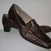 Винтаж ручной работы. Ярмарка Мастеров - ручная работа Туфли полуботинки коричневые на небольшом каблуке. Handmade.