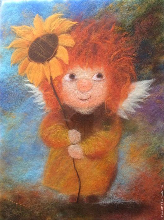 Фантазийные сюжеты ручной работы. Ярмарка Мастеров - ручная работа. Купить Картина из шерсти Солнечный ангелочек. Handmade. Рыжий