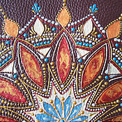 Канцелярские товары handmade. Livemaster - original item Passport cover genuine leather brown patterns painting. Handmade.