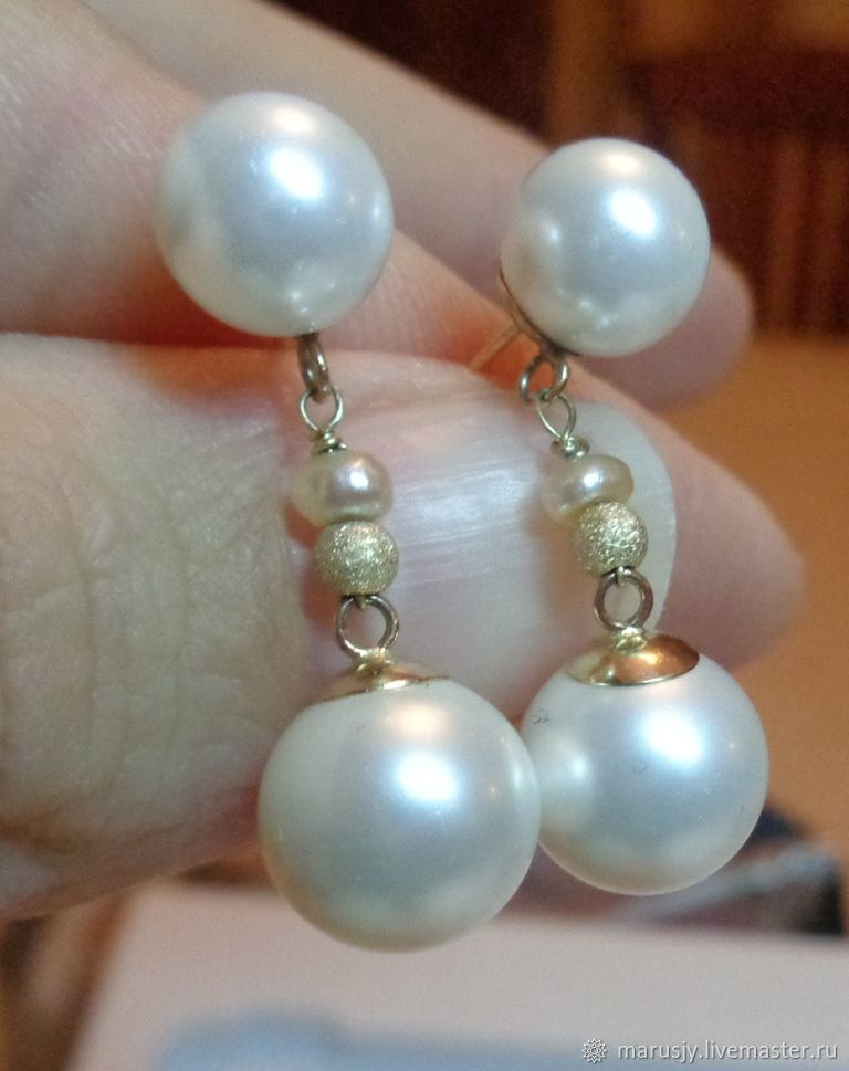 Earrings made of gold 585 and natural freshwater pearls AAA, Stud earrings, Sergiev Posad,  Фото №1