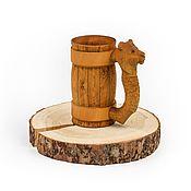 Посуда handmade. Livemaster - original item Mug of wood with carved handle