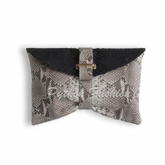 Двухцветный необычный клатч из натуральной кожи питона. Дизайнерский театральный клатч ручной работы. Купить клатч, индивидуальный заказ, эксклюзивный клатч, Бали. Качественная латунная фурнитура.