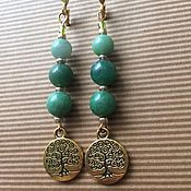 Украшения handmade. Livemaster - original item Ethnic earrings with jade Tree of Life. Handmade.