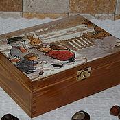 """Для дома и интерьера ручной работы. Ярмарка Мастеров - ручная работа Шкатулка чайная   """"Foxwood tales"""". Handmade."""