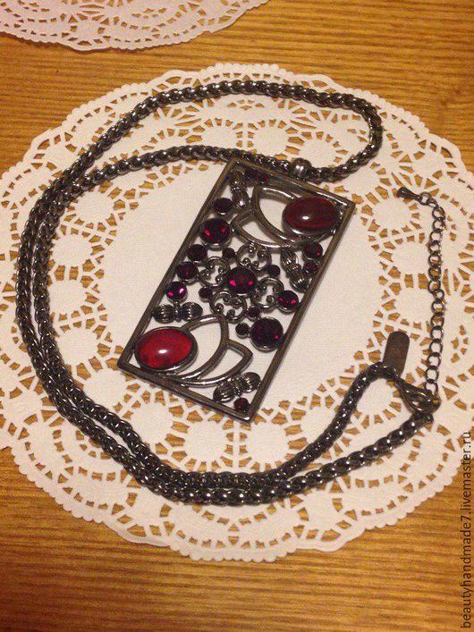 """Кулоны, подвески ручной работы. Ярмарка Мастеров - ручная работа. Купить Подвеска """"Кровавый алмаз"""". Handmade. Бордовый, стразы, цепочка"""