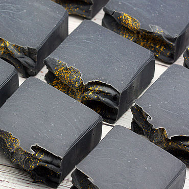 Cosmetics handmade. Livemaster - original item Soap natural coal Starry night. Handmade.