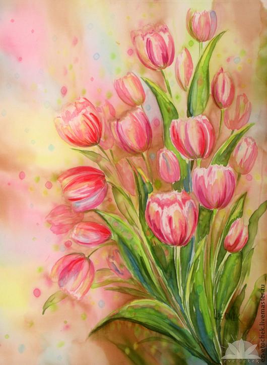 Картины цветов ручной работы. Ярмарка Мастеров - ручная работа. Купить Весна. Handmade. Кремовый, батик панно, розовый цветок