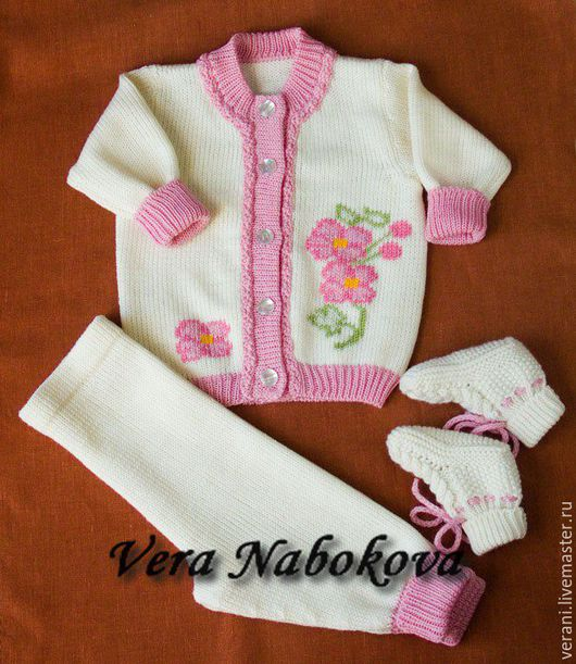 Для новорожденных, ручной работы. Ярмарка Мастеров - ручная работа. Купить Костюм детский из шерсти Нежные цветочки. Handmade.