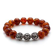 Украшения handmade. Livemaster - original item Bracelet Secret symbol of Baltic amber with silver charms. Handmade.