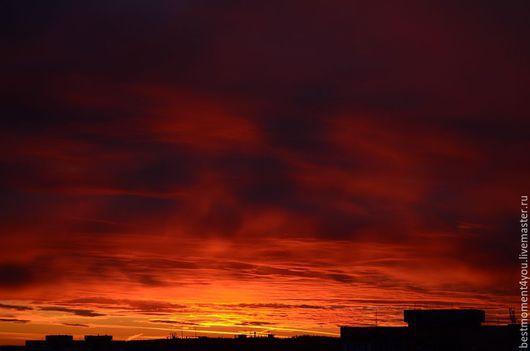 Фото-работы ручной работы. Ярмарка Мастеров - ручная работа. Купить Пылающие небеса. Handmade. Ярко-красный, оранжевый, черный