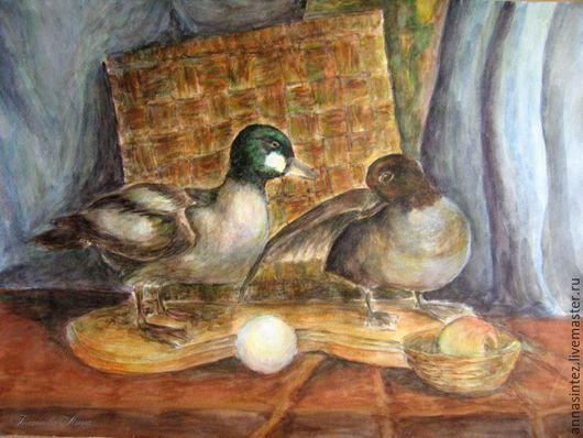 Картина живопись акварель Уточки