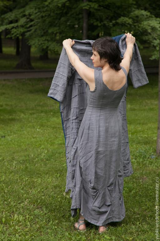 Платья ручной работы. Ярмарка Мастеров - ручная работа. Купить Платье Пасмурное. Handmade. Серый, длинное платье, family look