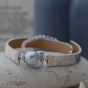 "Украшения handmade. Livemaster - original item Кожаный браслет с жемчугом касуми ""Небо Лондона"". Handmade."