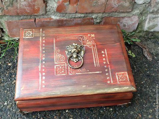 """Шкатулки ручной работы. Ярмарка Мастеров - ручная работа. Купить Ларец""""Лев""""коробка большая. Handmade. Шкатулка, подарок, романтический подарок, короб"""