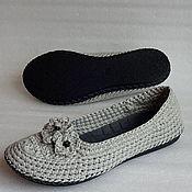 Обувь ручной работы. Ярмарка Мастеров - ручная работа Балетки уличные Благородный лен, р.39, серый. Handmade.