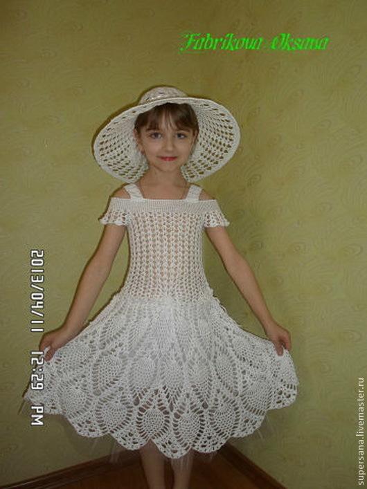 Одежда для девочек, ручной работы. Ярмарка Мастеров - ручная работа. Купить Платье крючком для девочки. Handmade. Белый, вязание детям