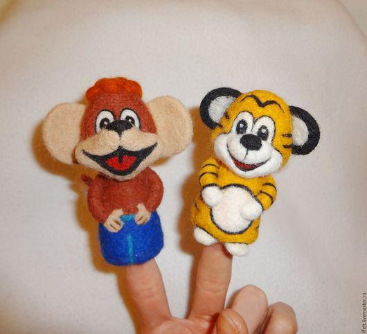 Кукольный театр ручной работы. Ярмарка Мастеров - ручная работа. Купить Тигренок и Обезьянка - пальчиковые игрушки. Handmade. Оранжевый, Дюдюка
