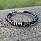 Украшения handmade. Livemaster - original item Leather charm bracelet Star of Russia, Alatyr, fern Flower. Handmade.
