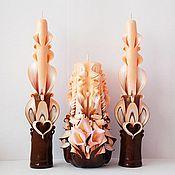 Свадебный салон ручной работы. Ярмарка Мастеров - ручная работа Свадебные свечи резные ручной работы - персиковый и коричневый цвет. Handmade.