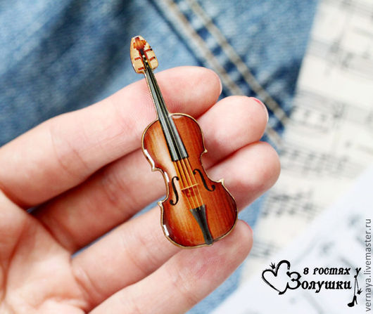 Brooches handmade. Livemaster - handmade. Buy Brooch on wooden base 'Violin'.Brown, brooch violin, wooden brooch