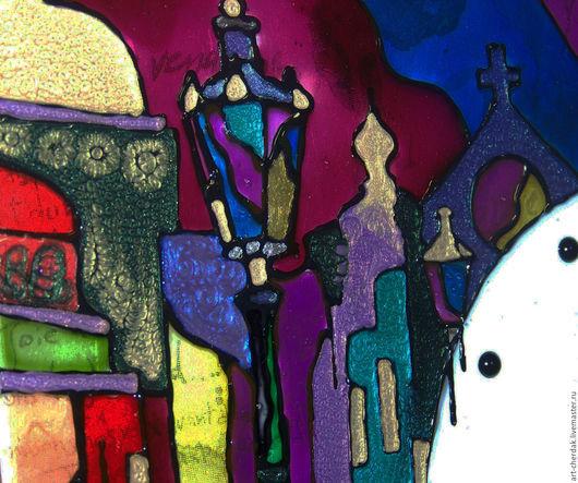 """Часы для дома ручной работы. Ярмарка Мастеров - ручная работа. Купить Часы настенные """" Закат в Венеции"""". Handmade. Витраж"""