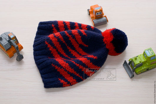 Шапки и шарфы ручной работы. Ярмарка Мастеров - ручная работа. Купить Яркая жаккардовая шапочка с помпоном для малыша. Handmade. Комбинированный