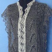 Одежда handmade. Livemaster - original item 240 vest down grey knitted clothes for women. Handmade.