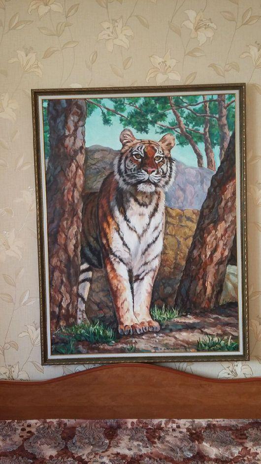 Животные ручной работы. Ярмарка Мастеров - ручная работа. Купить Картина Тигр (продана). Handmade. Картина для интерьера, акриловые краски