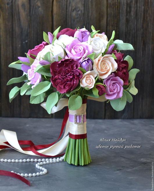 Букеты ручной работы. Ярмарка Мастеров - ручная работа. Купить Букет невесты с цветами из полимерной глины. Handmade. Белый