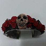 Украшения ручной работы. Ярмарка Мастеров - ручная работа браслет из полимерной глины розы и череп. Handmade.