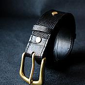 Аксессуары handmade. Livemaster - original item Genuine Monitor Lizard Leather Belt 38 mm — Black. Handmade.