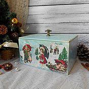 """Подарки к праздникам ручной работы. Ярмарка Мастеров - ручная работа """"Зимние забавы"""" - новогодний короб для подарков для игрушек новый год. Handmade."""