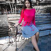 Одежда ручной работы. Ярмарка Мастеров - ручная работа Вязаная юбка с оригинальной вышивкой в стиле GLAM-CHIC. Handmade.
