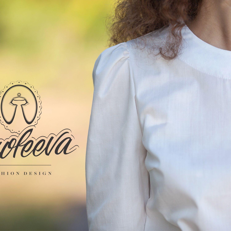 Блуза из хлопка: белый и светло-персиковый, Блузки, Нижний Новгород, Фото №1