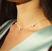 Колье-цепочка из золота 585 с пятью пресноводными жемчужинами