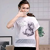 Одежда handmade. Livemaster - original item White t-shirt oversize Hamster, summer women`s t-shirt with mesh. Handmade.