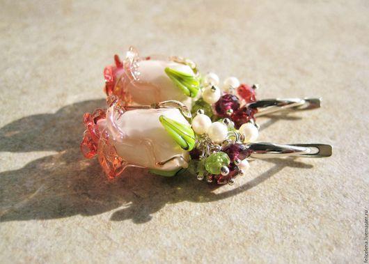 Серьги ручной работы. Ярмарка Мастеров - ручная работа. Купить Серьги Волшебные Розы серебро жемчуг гранат хризолит. Handmade.