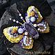 """Броши ручной работы. Ярмарка Мастеров - ручная работа. Купить Брошь бабочка """"Кэт"""". Handmade. Фиолетовый, брошь бабочка"""